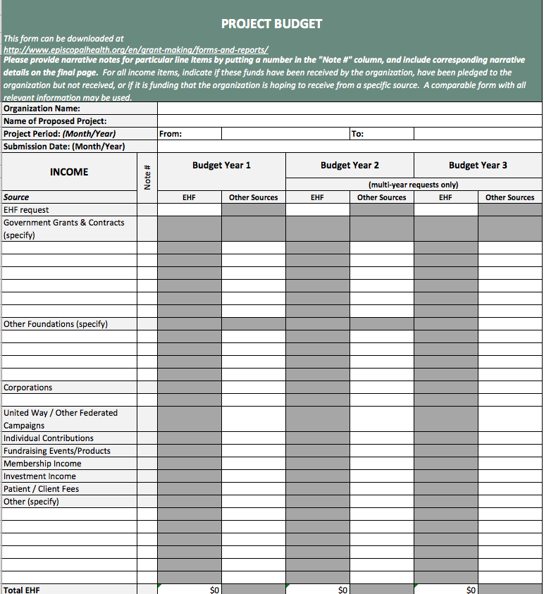 Project Budget Template Form - Episcopal Health Foundation