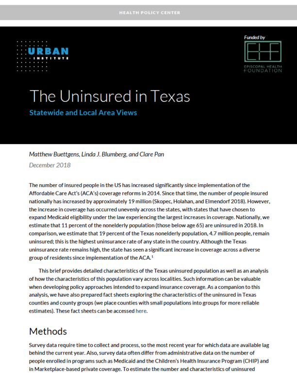 New Report: The Uninsured in Texas