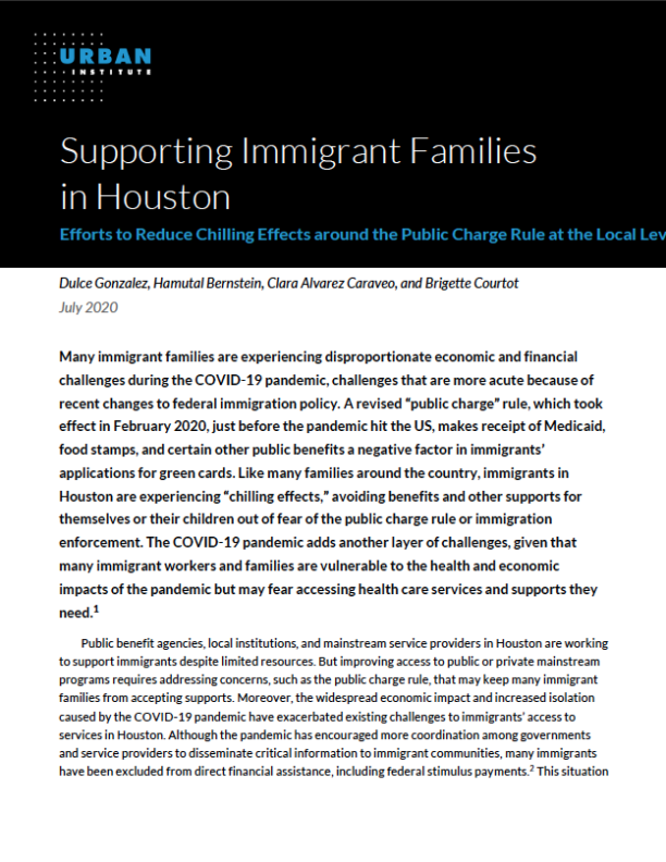 How is Houston supporting immigrant families experiencing chilling effects during the COVID-19 pandemic?