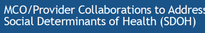 MCO/Provider Collaboration to Address Social Determinants of Health